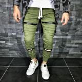 Pantaloni pentru barbati de trening verde conici banda jos cu siret alb fermoare decorative bumbac Z0008