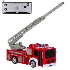 Masinuta cu telecomanda de jucarie, model vehicul pompieri, rosu, 8×18 cm