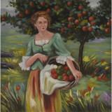 Femeie cu un cos de mere- pictura in ulei PC-117, Portrete, Realism