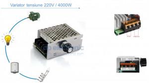 Variator de tensiune Regulator turatie motor electric dimmer 220V AC 4000W