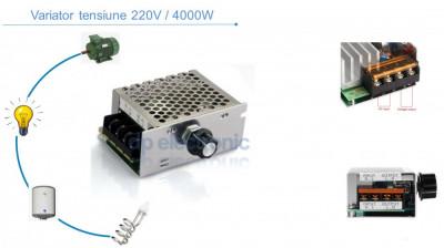 Variator de tensiune Regulator turatie motor electric dimmer 220V AC 4000W foto