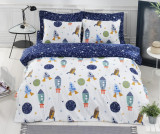 Lenjerie de pat King Ranforce Spacex Dark Blue, 240x260 cm, Bumbac ranforce, Set complet