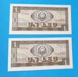 Lot x doua bancnote serie consecutiva Bancnota 1 Leu 1966