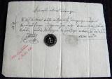 1836 Vechi document Comisariatul Targului Odobesti, filigran si sigiliu in fum