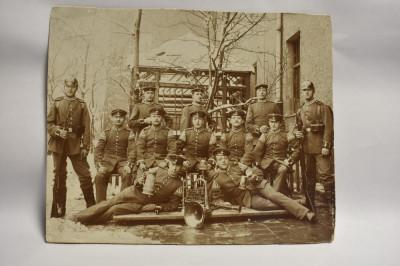 Fotografie veche Militari Prusia - instrumente muzicale si halbe de bere c.1910 foto