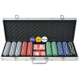 Set de poker cu 500 de jetoane din aluminiu