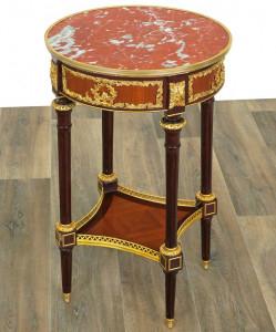Masuta cafea Louis XVI din lemn masiv furniruit cu blat marmura