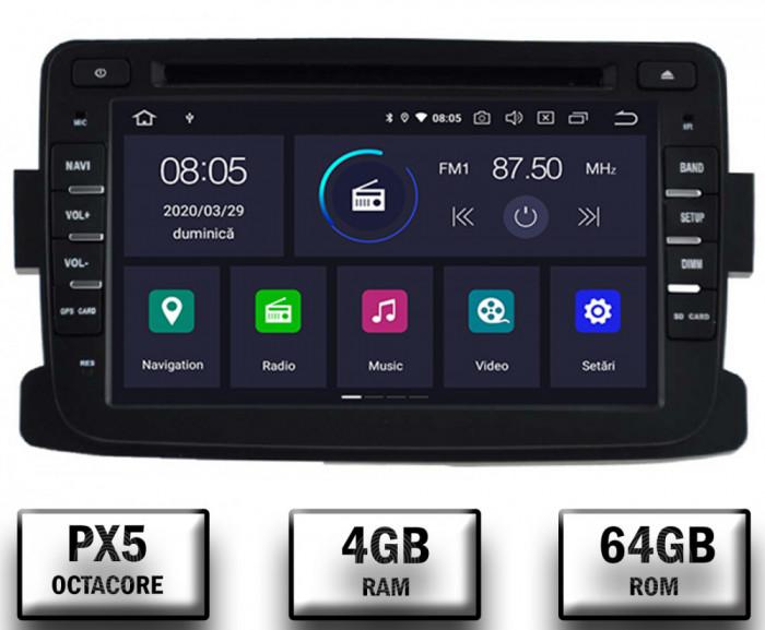 NAVIGATIE Dacia Renault, ANDROID 9, Octacore PX5 4GB RAM + 64GB ROM cu DVD, 7 Inch - AD-BGWDACIA7P5