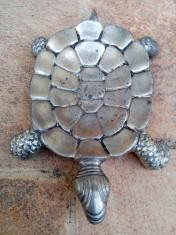 Broasca broscuta zinc veche vintage scrumiera decor foto