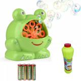 Pachet Aparat de facut baloane de sapun, bule - model broscuta + Rezerva Solutie de facut baloane de sapun, 1L + Set 4 baterii Toshiba R6, tip AA, Oem