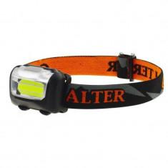 Lanterna frontala Calter Basic DHS, 2 W, 100 lm, LED COB, raza actiune 10 m, Portocaliu/Negru