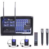 Statie 2 microfoane PA-180 UHF, LED, 2 lavaliere