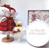 Cumpara ieftin Set Botez Traditional Adeline - 4 piese costumas, lumanare, trusou si cufar brodat