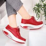 Pantofi Piele dama casual rosii Bunazi