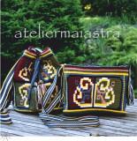 Cumpara ieftin Set genti crosetate ornamentate cu motiv popular din Dobrogea floarea pologului, Geanta de umar, Verde, Microfibra