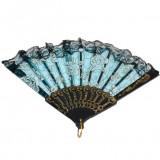 Evantai deosebit din material tip plasa cu imprimeu de trandafiri, Albastru, Negru, Roz, Verde