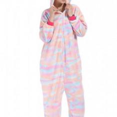 PJM145-5 Pijama pufoasa intreaga cu model unicorn colorat