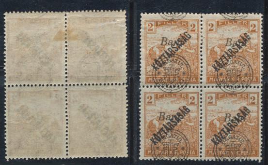 ROMANIA 1919 emisiunea Oradea seceratori 2B Koztarsasag bloc 4 erori deplasare