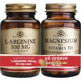 L-Arginine 500mg 50cps + Magnesium cu B6 100 tablete Pachet 1+1