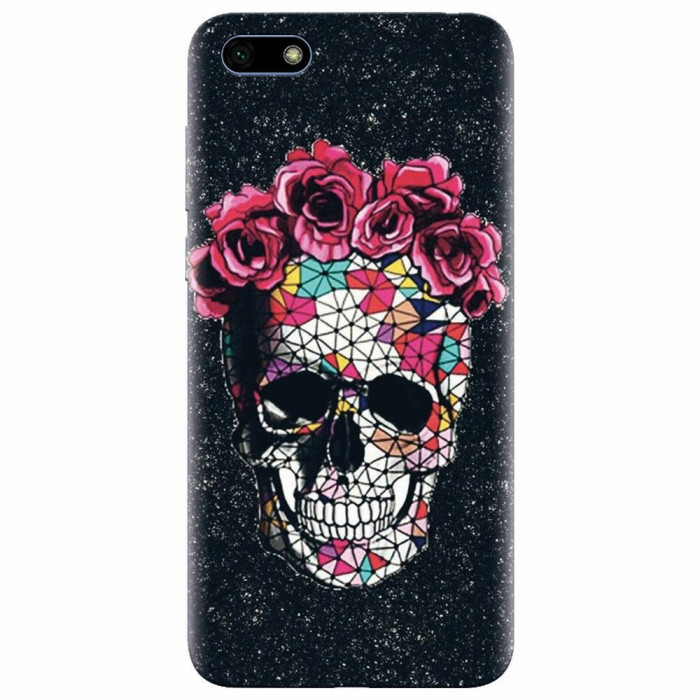 Husa silicon pentru Huawei Y5 2018, Colorful Skull Roses Space