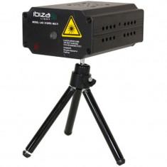 Laser Ibiza Mini Firefly pentru cluburi, 1300 mW, lumini Rosu/Verde, stativ inclus, negru
