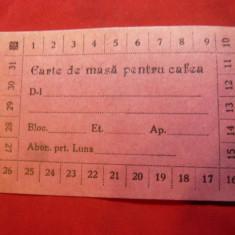 Cartela de Masa pt.Cafea - Restaurantul SSF MP Ionescu cca.1948
