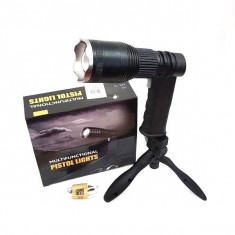 Lanterna LED Pistol XML-T6 30W cu Zoom, Acumulator si Trepied MH535