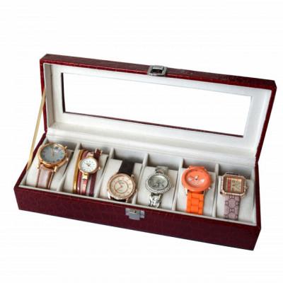 Oferta! Caseta eleganta depozitare cu compartimente pentru 6 ceasuri, imprimeu crocodil rosu + 6 ceasuri de dama foto