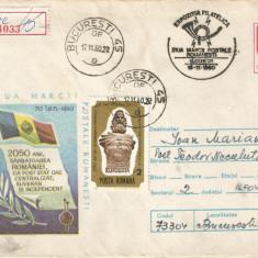 România, Ziua mărcii poştale româneşti, plic circulat intern, 1980