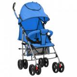 vidaXL Landou/cărucior pliabil copii 2-în-1, albastru, oțel