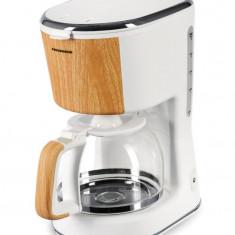 Cafetiera Heinner HCM-WH900BB, 900W, 1.25 litri, alb/bambus
