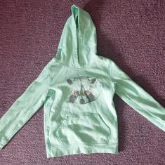 Bluza hanorac cu gluga si buzunare, 7-8 ani, culoare turcoaz, bumbac, ca noua