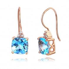 Cercei Borealy Aur Roz 14 K Topaz Natural Blue Swiss 2.5 Ct Cushion 8 Diamante