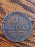 1 Kreuzer 1851 A. Patina frumoasa., Europa
