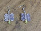 Cercei argintii - fluturi cu calcit xi cuart