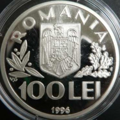 Set 2 x Monede 100 Lei 1996 - Argint 925 - World Food Summit - Rome 10 lei metal
