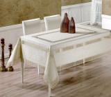 Față de masă Valentini Bianco,160×160 cm, Model cu 2 broderii Alb