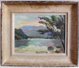 Peisaj cu lac, semnat, Peisaje, Ulei, Impresionism