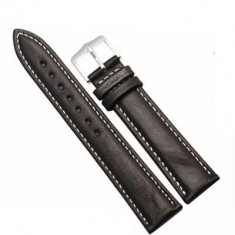 Curea ceas piele neagra + cusatura alba 8 mm - 26 mm