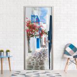 Fototapet pentru usa - Mergeti prin Santorini - 70 x 210 cm, Artgeist