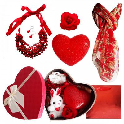 Pachet  cadou Valentine s Day set bijuterii, lampa dragostei, brosa  si esarfa foto