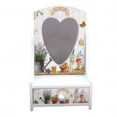 Caseta din lemn, cu un sertar si cu oglinda in forma de inima, cu aspect vintage, model 1