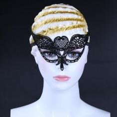 Masca Carnaval Foreplay Adult Venetiana Neagra Black Dantela Halloween, Masura unica, Negru