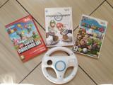 Jocuri Wii de colectie: Wii Mario Bros., Mario Kart Wii & volan, Mario Party 8