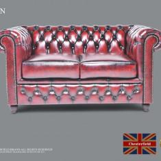 Canapea din piele naturală  -2 locuri-Roșu Antique-Autentic Chesterfield Brand
