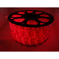 Instalatie Rola 100 m furtun luminos led Rosu + alimentator inclus / Rola led / instalatie de craciun