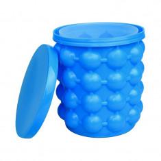Dispozitiv 2 in 1 pentru preparat gheata Ice Cube, silicon, Albastru