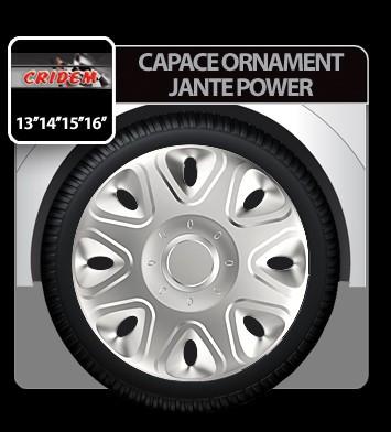 Capace ornament jante Power 4buc - Argintiu - 14' - CRD-VER1412 Auto Lux Edition