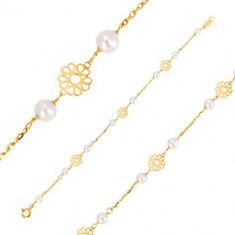 Brățară din aur galben 585 pentru copii - flori sculptate decorativ, perle