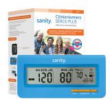 Cumpara ieftin Tensiometru electronic de brat Sanity Serce Plus, ecran 140 x 36 mm, 4 x AAA, 60 seturi memorie, tehnologie FDS, Albastru